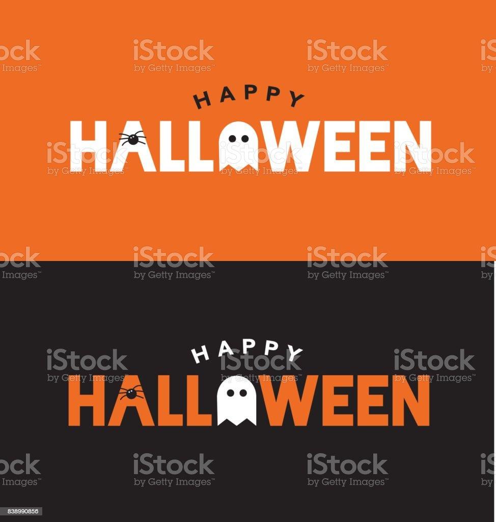 Feliz Halloween tipografía naranja y negra con araña y fantasma - ilustración de arte vectorial