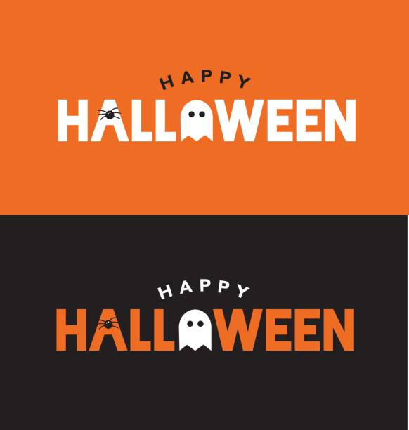 happy halloween typography over orange and black with spider and ghost - halloween stock illustrations, clip art, cartoons, & icons