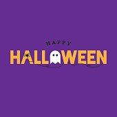 Happy Halloween Typography Over Purple with Spider and Ghost. Vector Illustration.