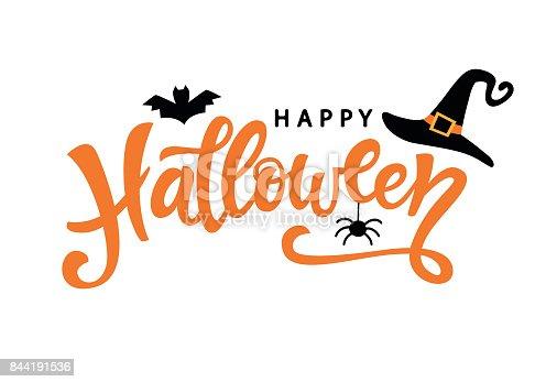 istock Happy Halloween typography poster with handwritten calligraphy text 844191536
