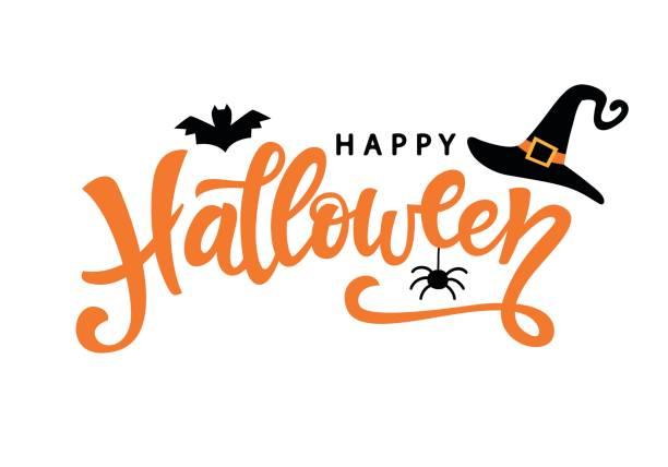 illustrazioni stock, clip art, cartoni animati e icone di tendenza di poster tipografico di halloween felice con testo calligrafico scritto a mano - halloween