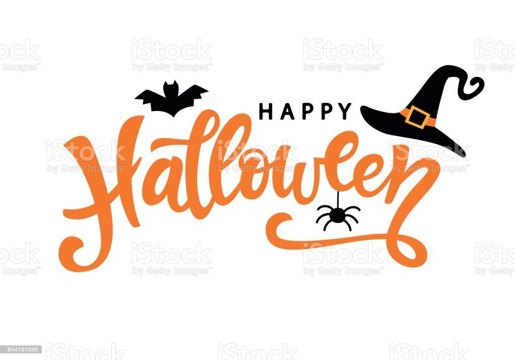 Cartel de tipografía de Feliz Halloween con texto de caligrafía manuscrita - ilustración de arte vectorial