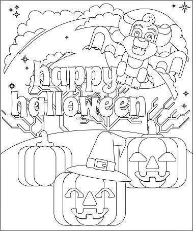 Happy Halloween Vampire Bat Pumpkin Coloring Page