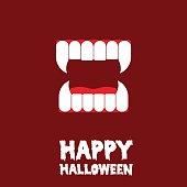 happy halloween vampire teeth card