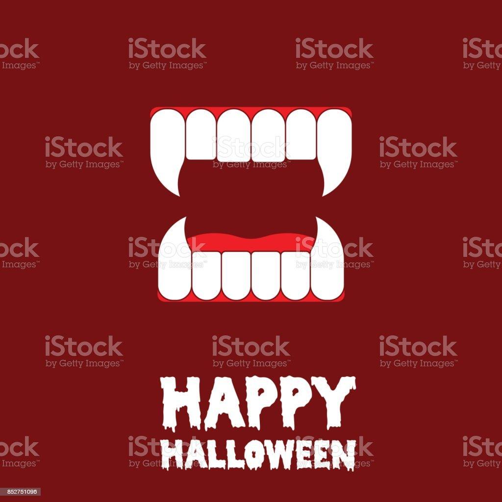 happy halloween vampire teeth card vector art illustration