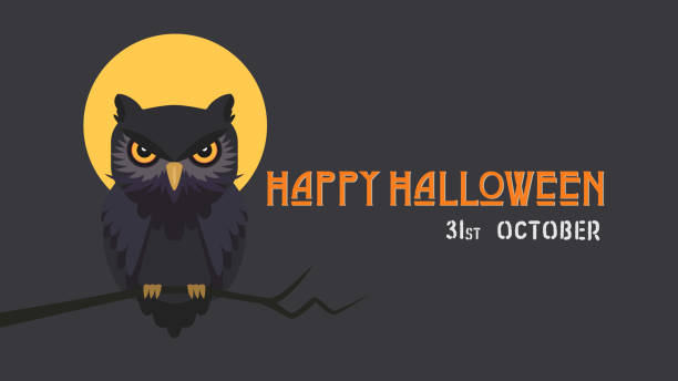happy halloween vector background minimal style. - sowa stock illustrations