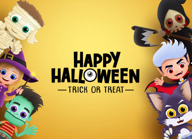ilustrações de stock, clip art, desenhos animados e ícones de happy halloween vector banner background. halloween characters and trick or treat greeting text with zombie, witch,vampire and a reape and empty space. - fantasia