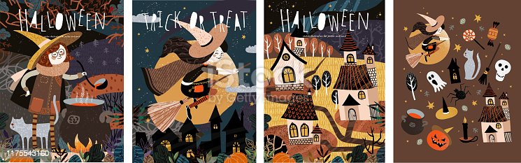 Happy Halloween! Vector cute illustration of a witch preparing a potion; witches on a broomstick; scary houses in a city or village and a set of objects. Drawings for card, poster or background.