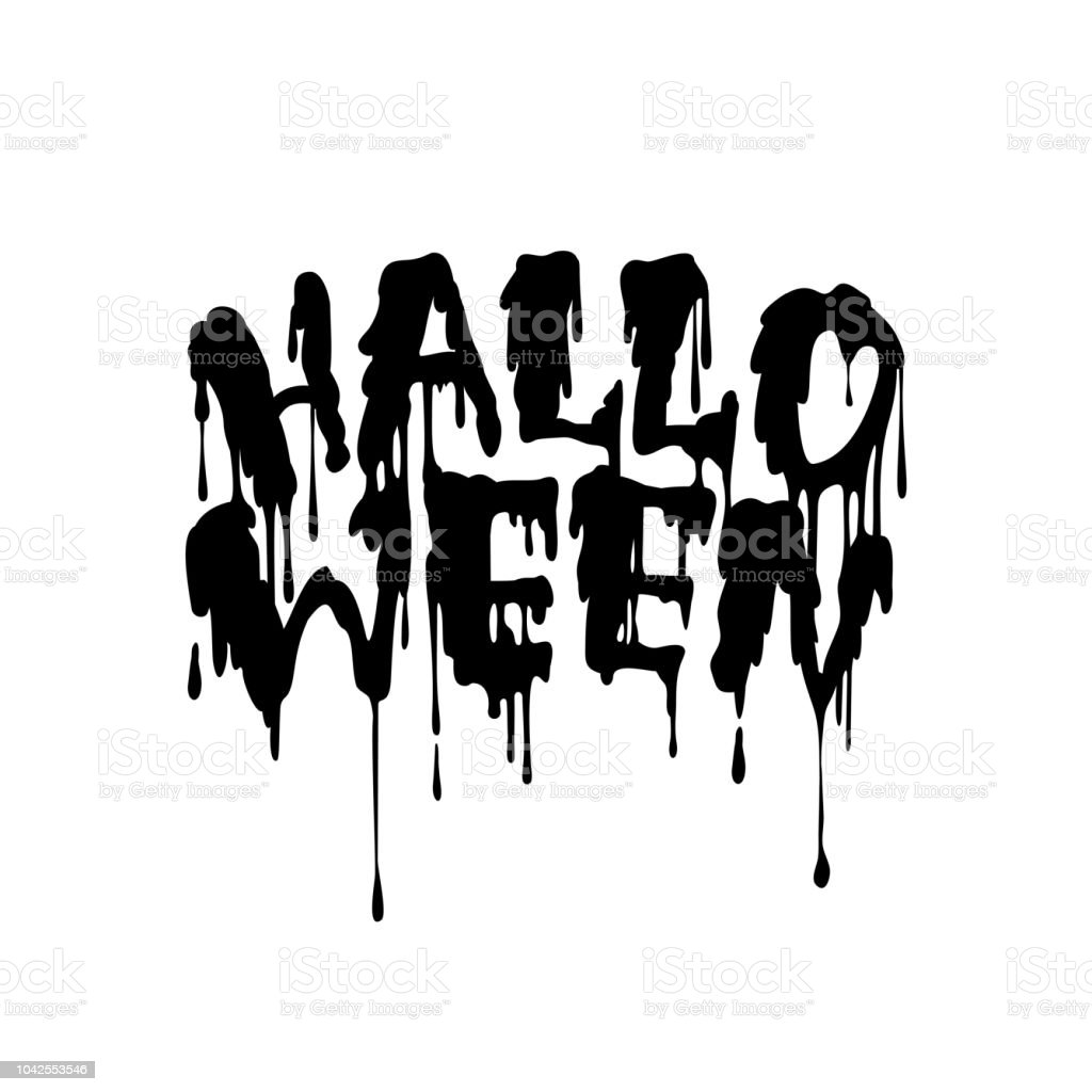 happy halloween vector handwritten lettering with flowing blood