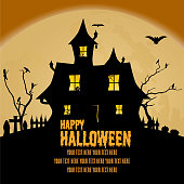 A vector illustration of a Halloween banner with a Spooky haunted house on it.