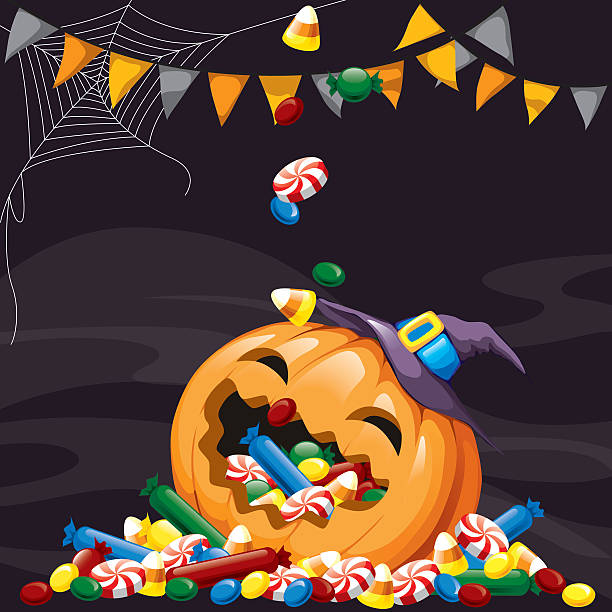 happy halloween - halloween candy stock illustrations