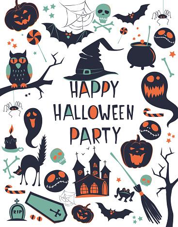 Happy Halloween Vector illustration background frame border pattern card