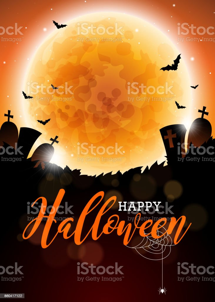 Happy Halloween vector illustration with moon and cemetery on dark...