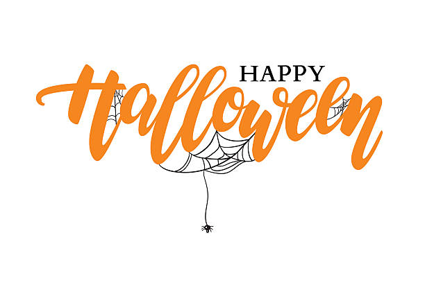 happy halloween vector lettering. holiday calligraphy with spide - halloween stock illustrations, clip art, cartoons, & icons