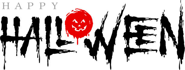 happy halloween. vector lettering isolated on white background. design template - vegetable blood stock illustrations, clip art, cartoons, & icons
