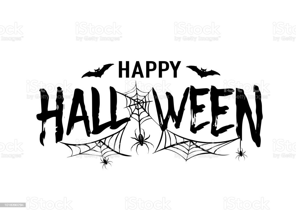 Happy Halloween Vector Text Banner Silhouette Holiday Sign ...