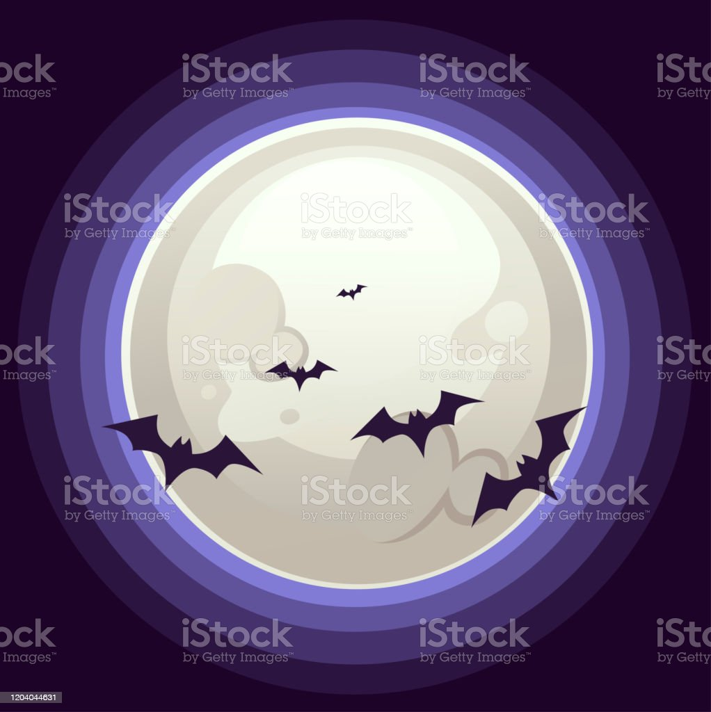 Happy Halloween Vertical Banner Design With Big White Moon And Bat Flat Vector Illustration On Dark Background Stock Illustration Download Image Now Istock