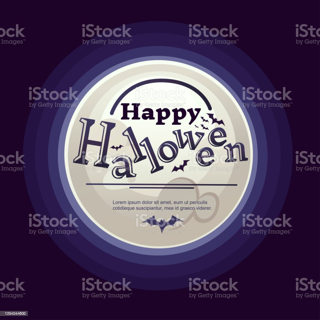 Happy Halloween Vertical Banner Design With Big White Moon Flat Vector Illustration On Dark Background Stock Illustration Download Image Now Istock