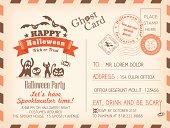 Happy Halloween Vintage Postcard invitation background design layout