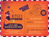 Happy Halloween Vintage Postcard invitation background design
