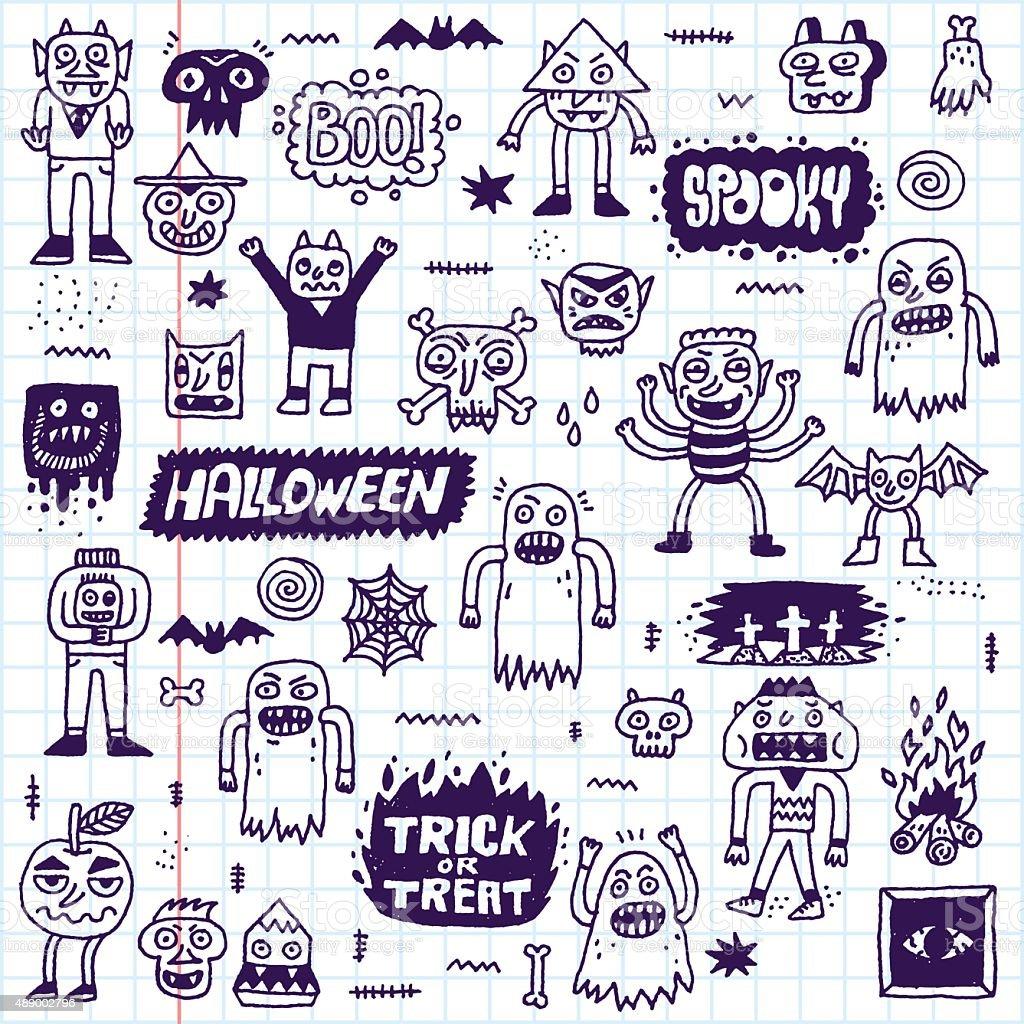 Happy Halloween. Wacky Cartoon Doodle Set 3. vector art illustration