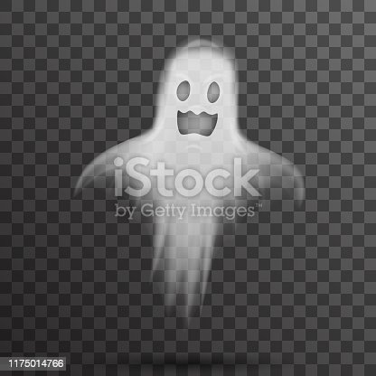 Happy halloween white scary ghost template isolated transparent night background vector illustration