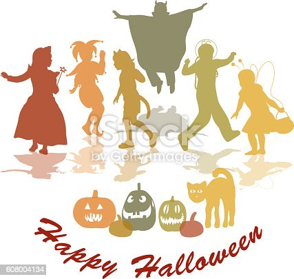 Happy Halloween Wishes Vector Silhouettes