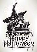 """Pen and ink illustration of Happy Halloween - Witch at Cauldron. Scale to any size. Check out my """"Halloween Horror Vector"""" light box for more."""