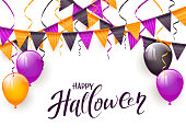 Text Happy Halloween on white background with balloons, pennants and streamers, illustration.