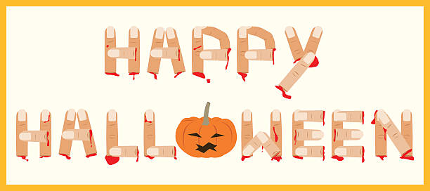 happy halloween with cutted finger and pumpkin, vector illustration - vegetable blood stock illustrations, clip art, cartoons, & icons