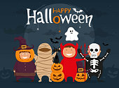 Happy halloween with kids in costumes. Mummy, ghost, skeleton, devil, pumpkin and black cat cartoon character.