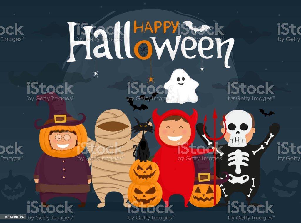 Happy halloween with kids in costumes. Mummy, ghost, skeleton, devil, pumpkin and black cat cartoon character. Vector illustration. vector art illustration