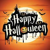 Happy Halloween message, vector illustration with pumpkin, bats, moon, castle and cemetery.