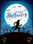 Happy Halloween with werewolf and Moon on blue background