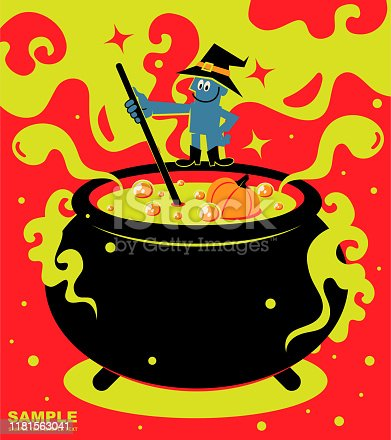 istock Happy Halloween, wizard standing on top of a big cauldron (stew pot) and cooking food 1181563041
