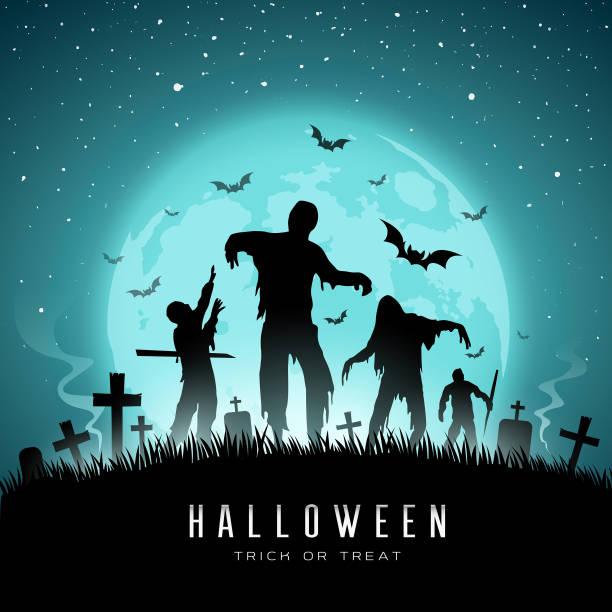 bildbanksillustrationer, clip art samt tecknat material och ikoner med happy halloween zombies och bat på fullmåne - zombie