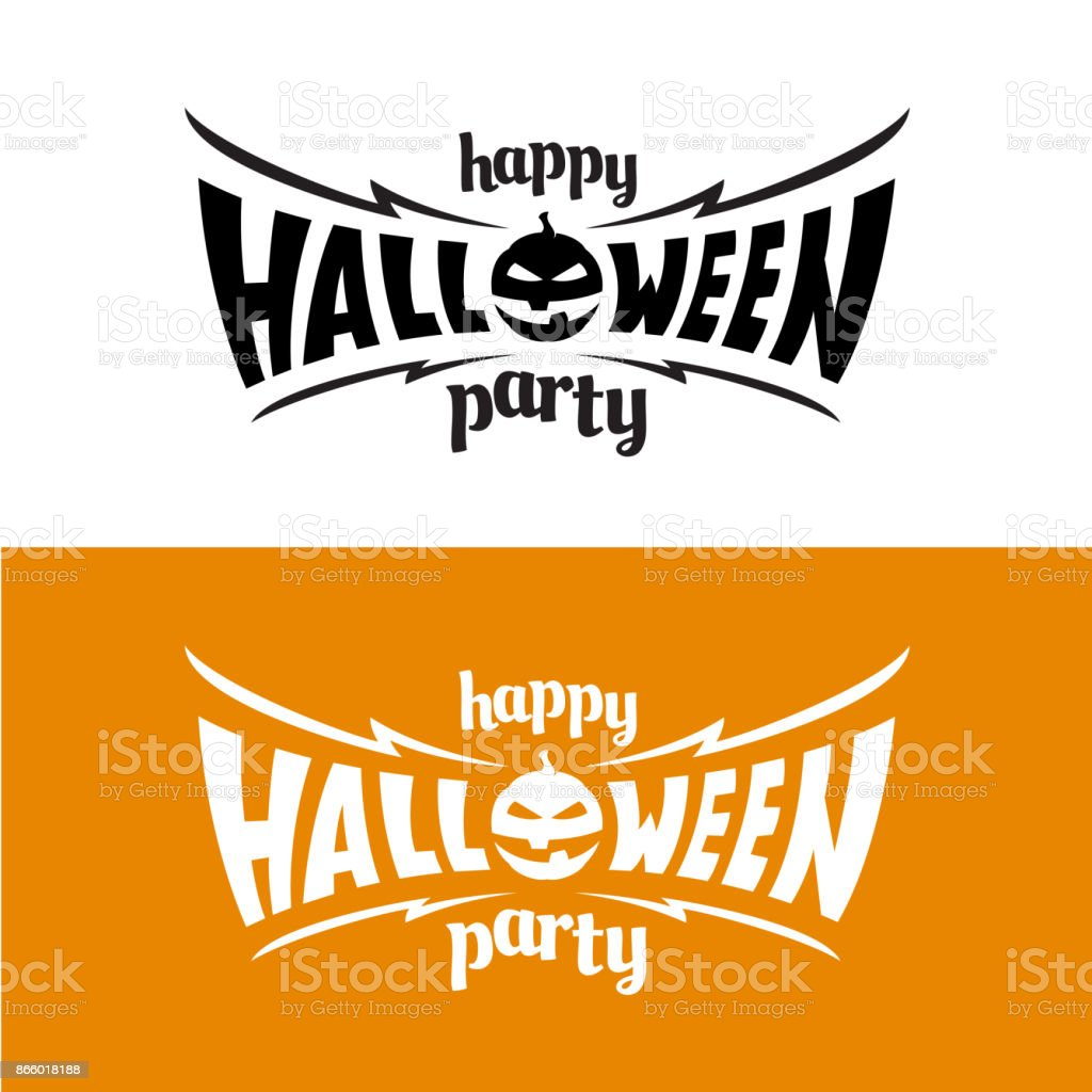 happy hallowen party title symbol template bat wings shape with e