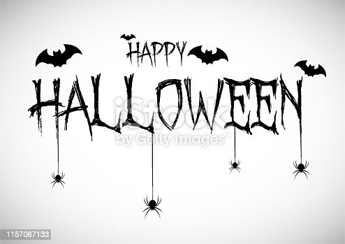 Happy Haloween Concept Bats and Spiders on gray background