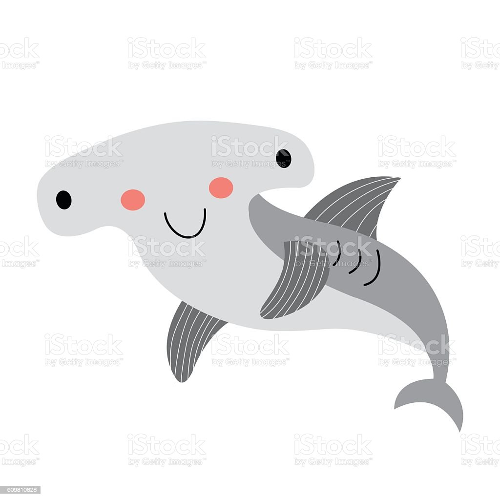 happy hammerhead shark animal cartoon character vector