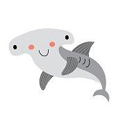 Happy Hammerhead Shark animal cartoon character vector illustration.
