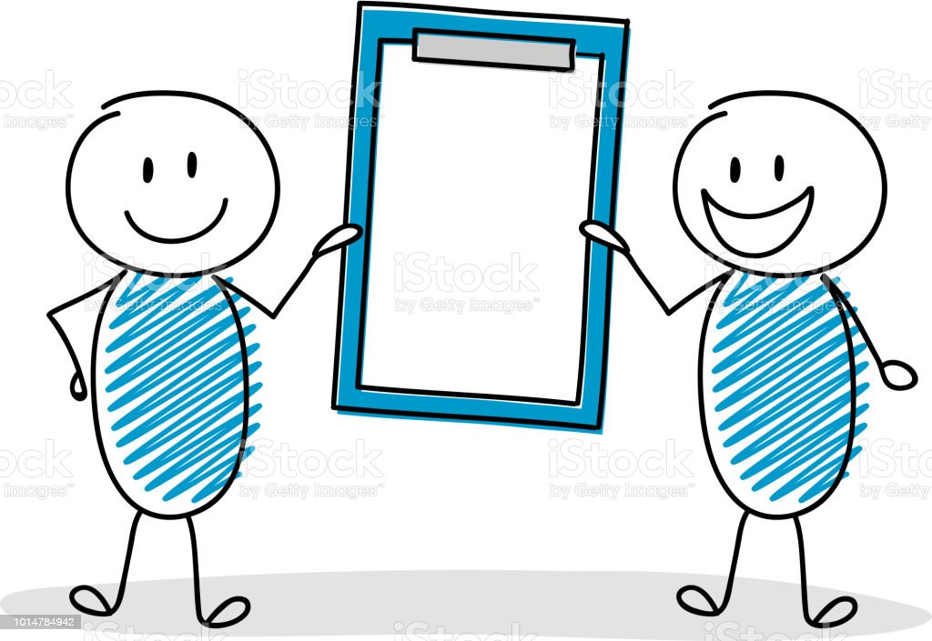 Happy hand drawn stickman holding clipboard with copyspace. Vector. vector art illustration