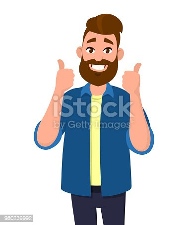 istock Happy handsome man showing thumbs up. Concept illustration in cartoon style. 980239992