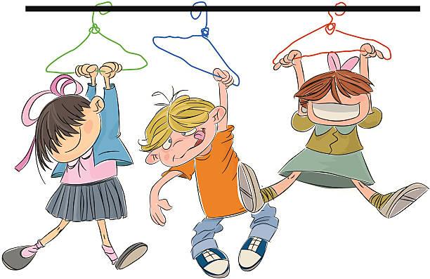 happy hängen kinder - stiftehalter stock-grafiken, -clipart, -cartoons und -symbole