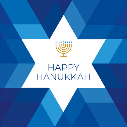 Happy Hannukkah card template with star on blue background