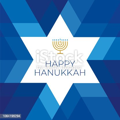 Happy Hannukkah card template with star on blue background - Illustration