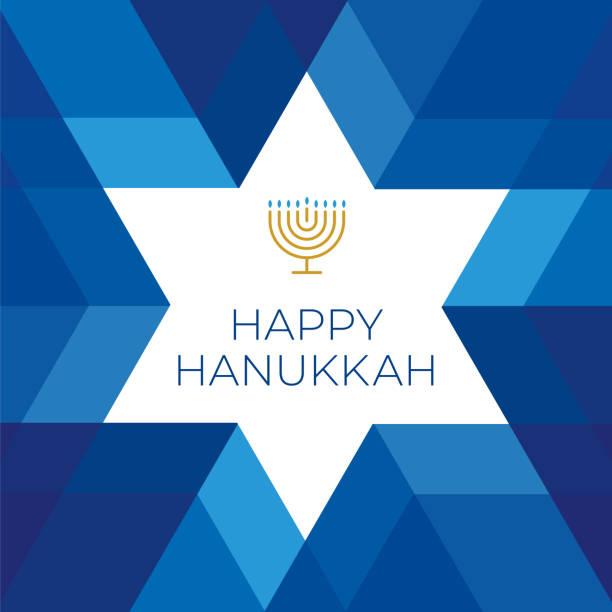 szczęśliwy szablon karty hannukkah z gwiazdą na niebieskim tle - judaizm stock illustrations