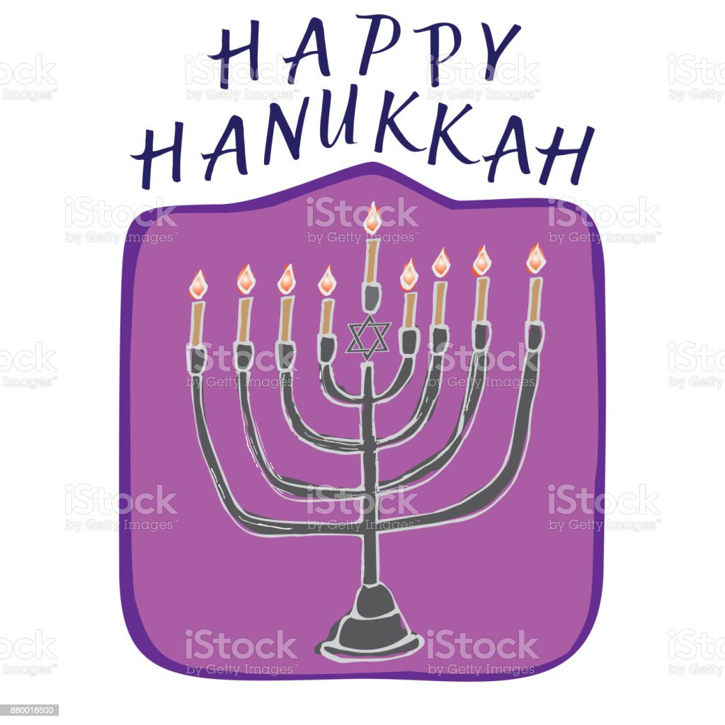 Happy Hanukkah Card Hand Drawn Stock Vector Art More Images Of Art