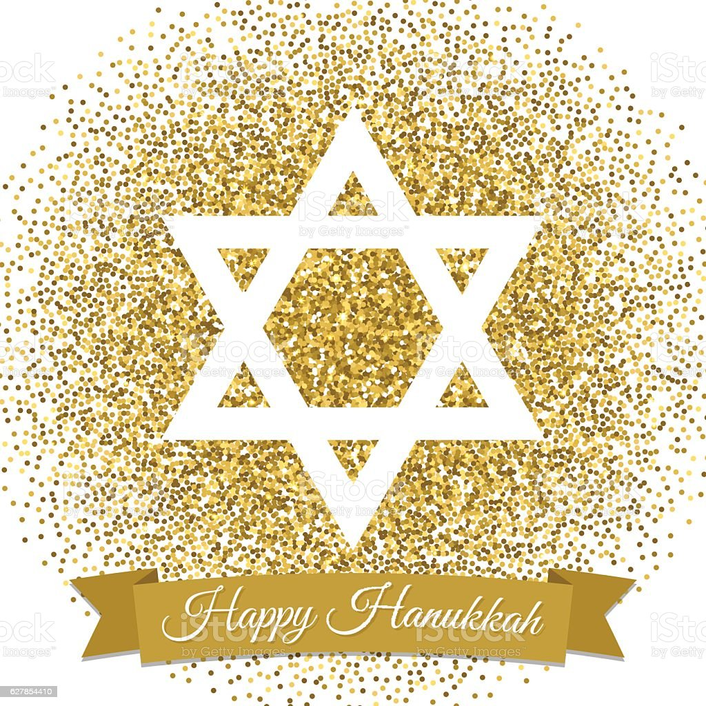 Happy Hanukkah card. Star of David with gold glitter effect. vector art illustration