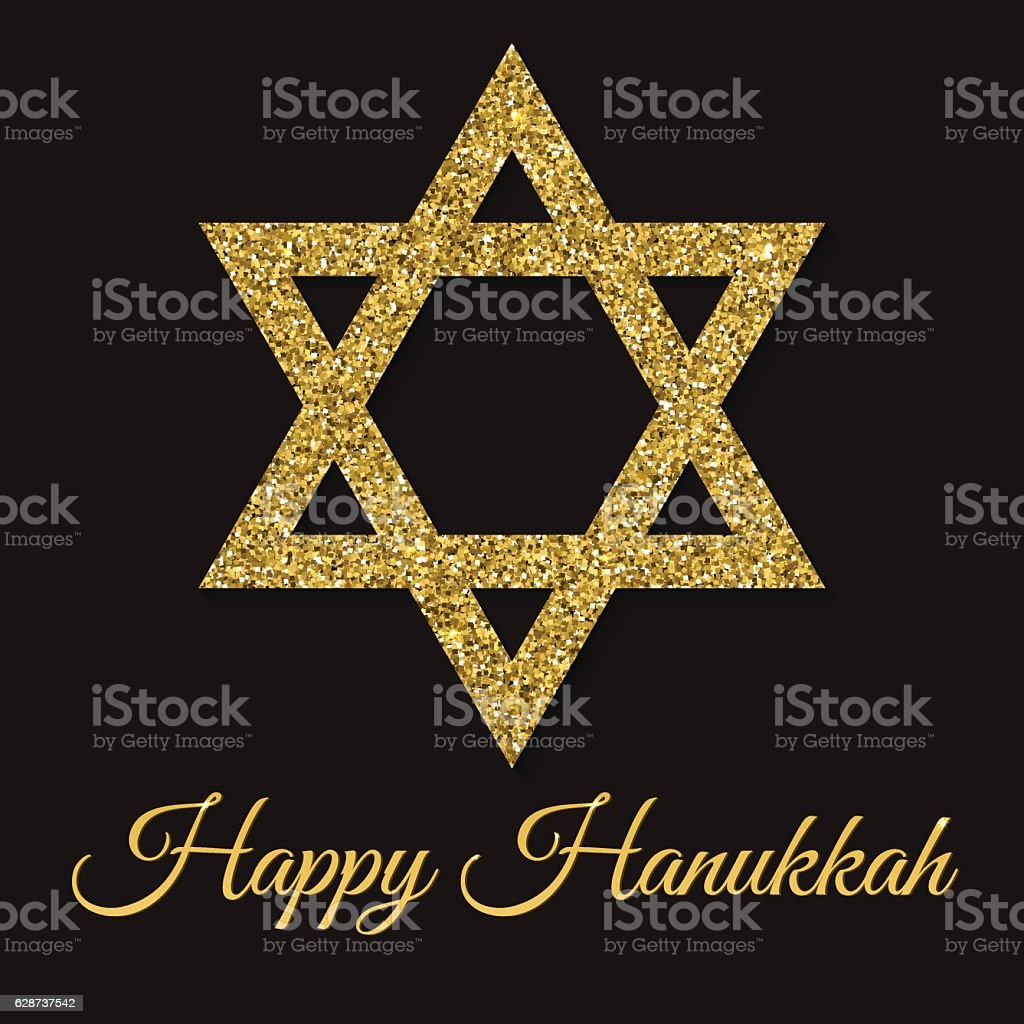 Happy Hanukkah card. Star of David with gold glitter effect vector art illustration