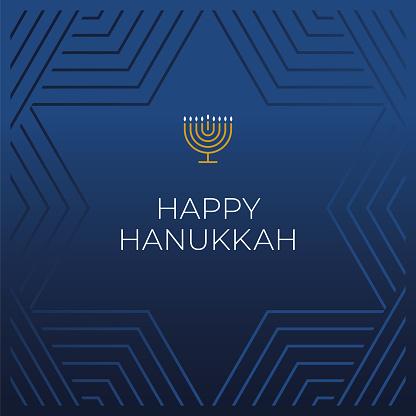 Happy Hanukkah card template. Hanukkah is the name of the Jewish holiday. Stock illustration